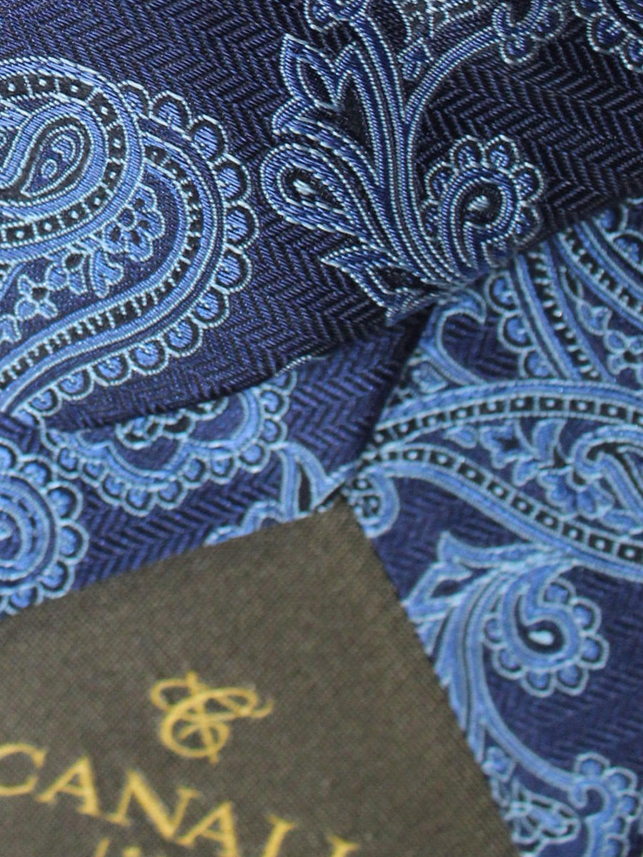 Canali Tie Dark Blue Paisley Design