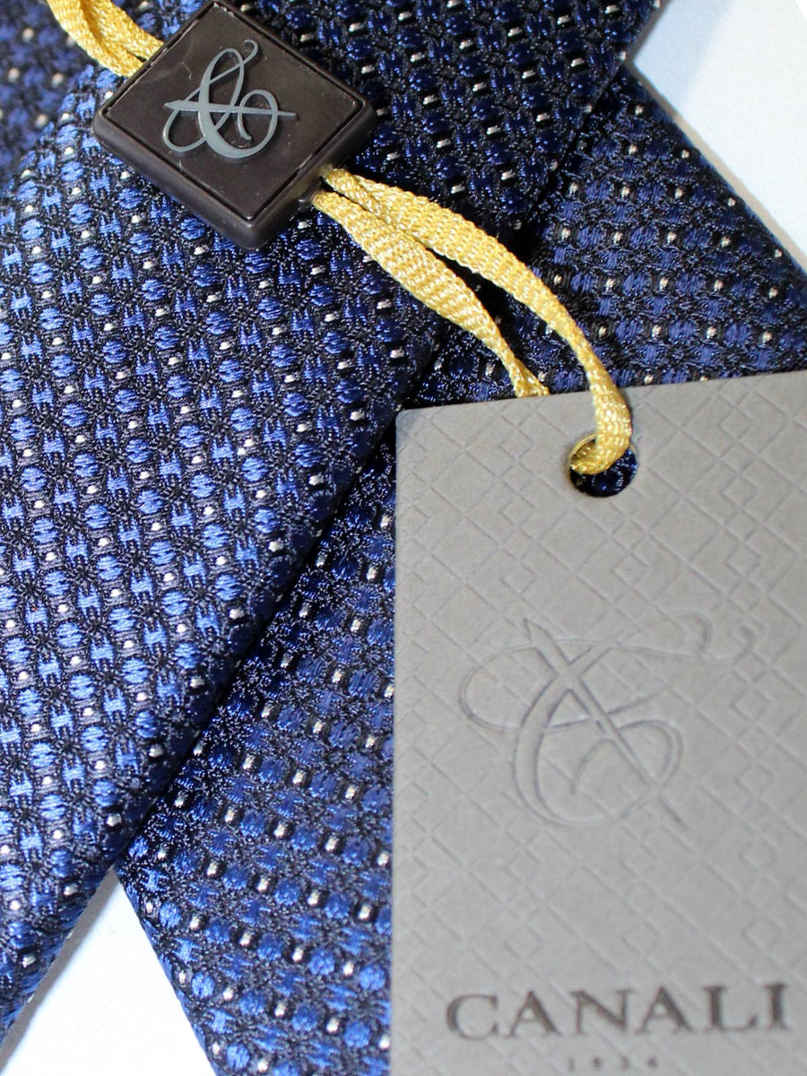Canali Silk Tie Dark Blue Black Silver Geometric Design