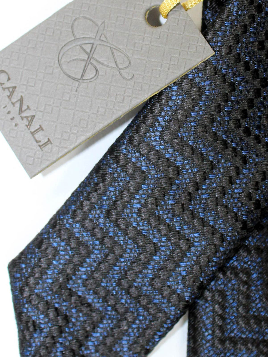 Canali Silk Tie Black Dark Blue Geometric Design