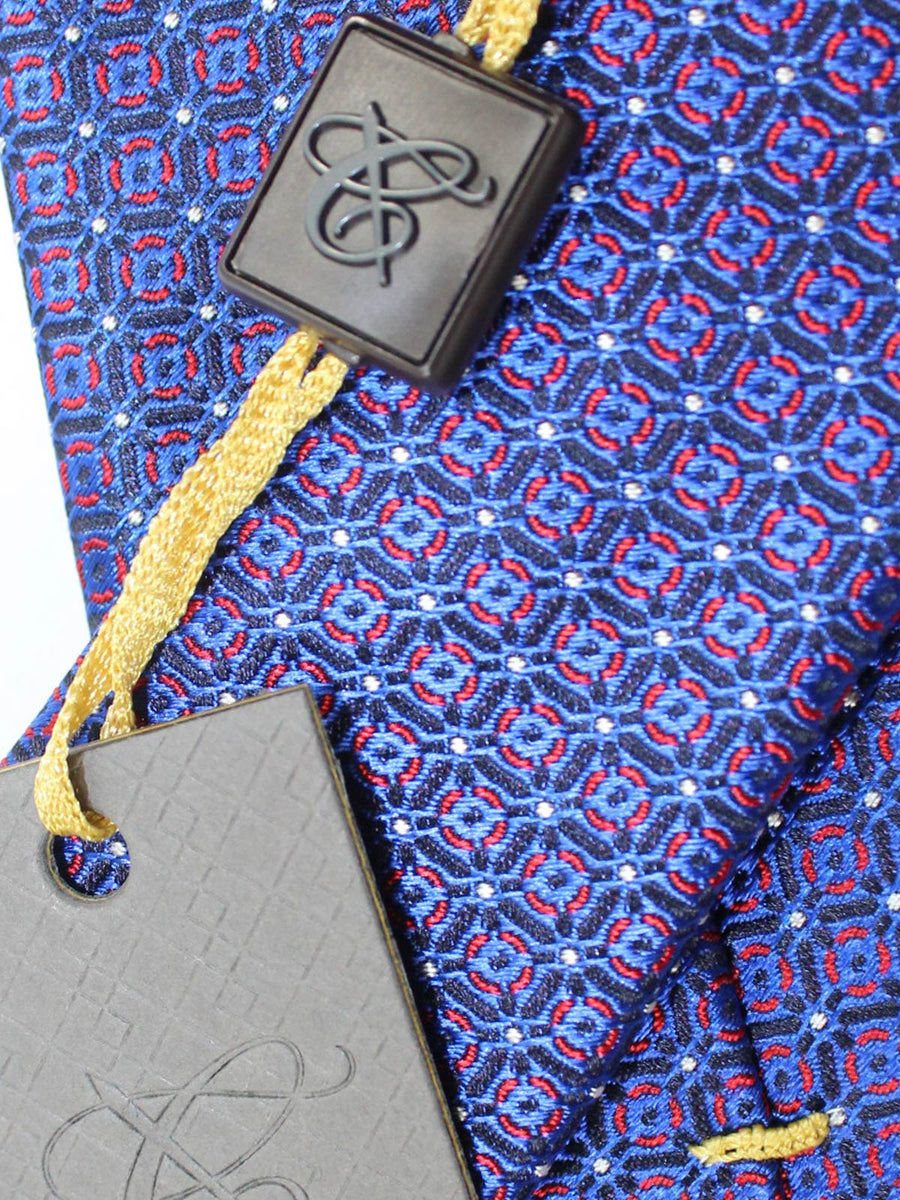 Canali Silk Tie Royal Red Geometric Design