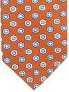 Stefano Cau 11 Fold Tie Rust Brown Blue Geometric Elevenfold Tie