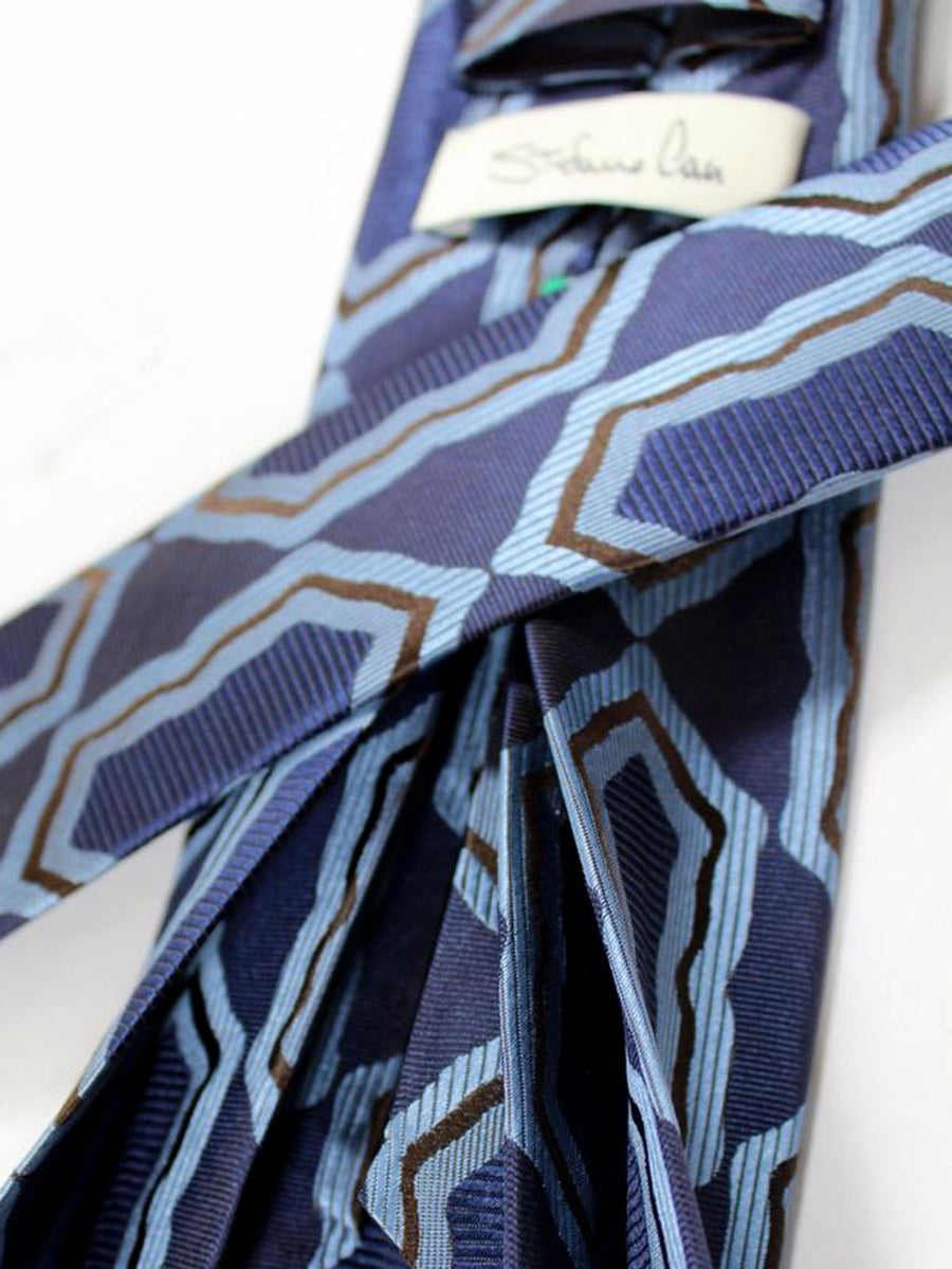 Stefano Cau 11 Fold Tie Midnight Blue Brown Floral Elevenfold Tie