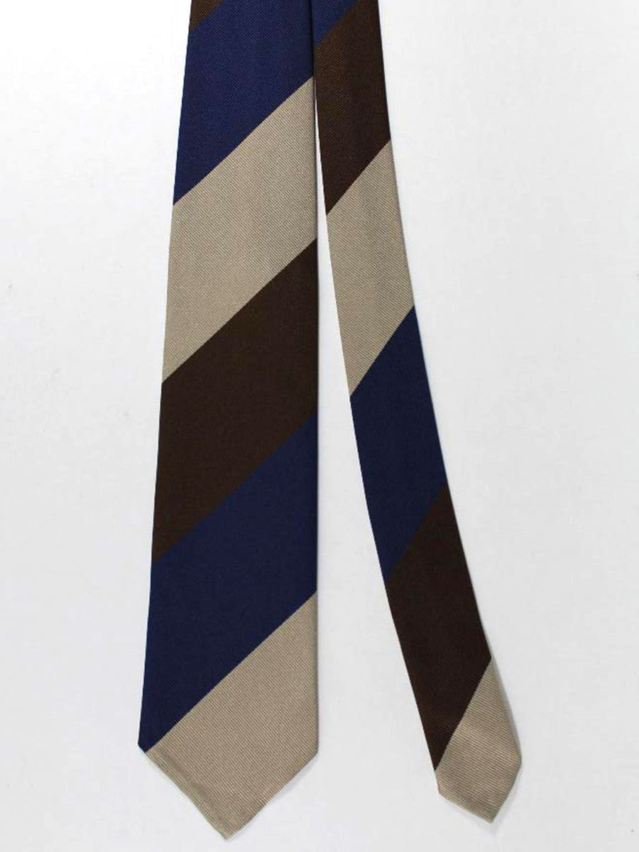 Stefano Cau Tie Brown Lapis Stripes Unlined Necktie