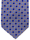 Stefano Cau Tie Royal White Brown Geometric Unlined Necktie