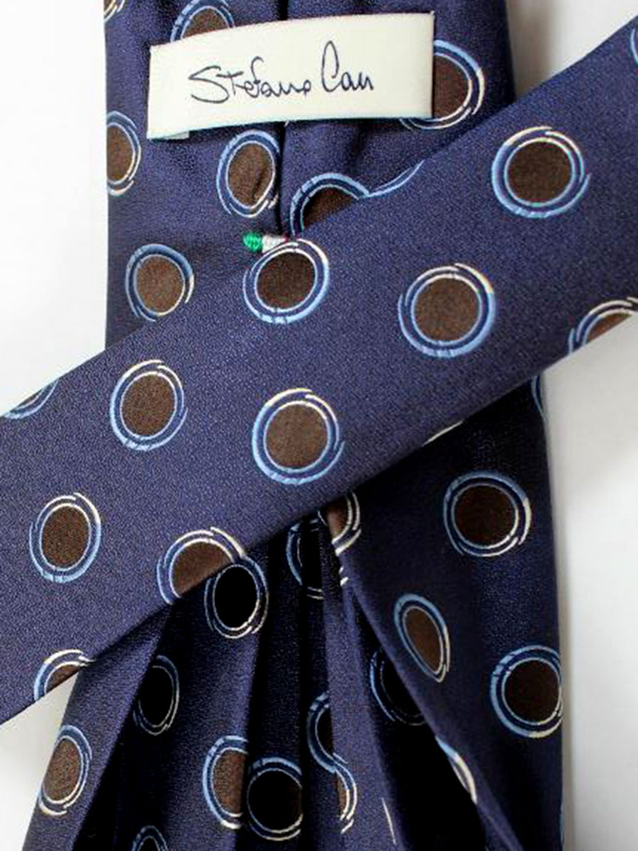 Stefano Cau Elevenfold Tie Navy Brown Blue Circles 11 Fold Tie