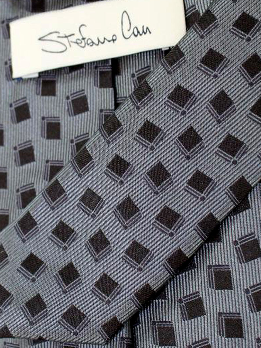 Stefano Cau Tie Grey Black Geometric