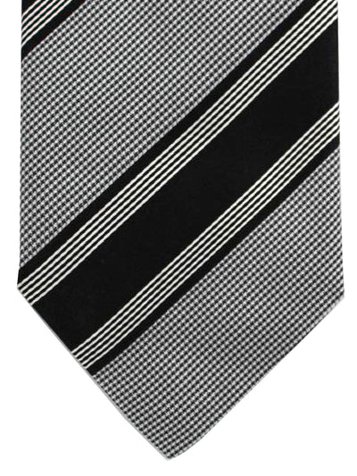 Stefano Cau Tie Black Silver Stripes