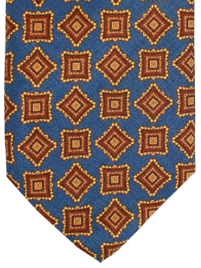 Stefano Cau Metallic Blue Brown Medallions - Extra Long Tie