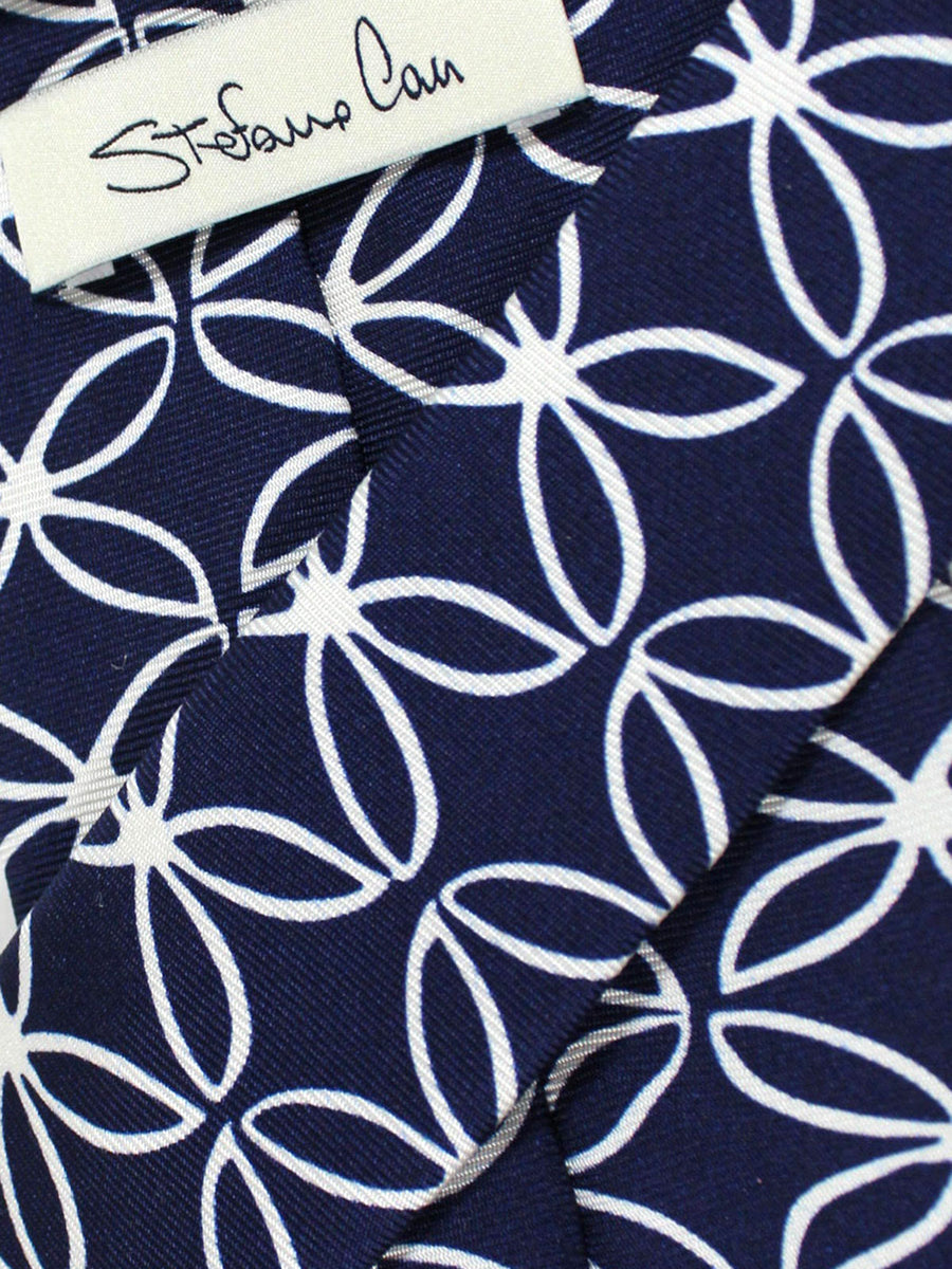 Stefano Cau Navy White Geometric Floral - Extra Long Tie