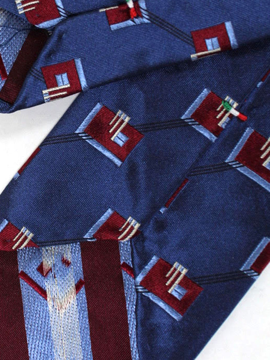 Stefano Cau Tie Midnight Blue Geometric Unlined Necktie