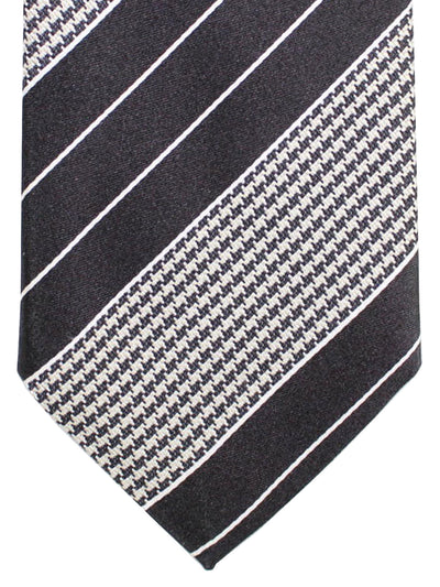 Stefano Cau Tie Black Silver Stripes Houndstooth