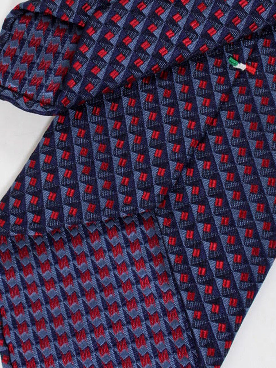 Stefano Cau Tie Gray Red Geometric Unlined Necktie