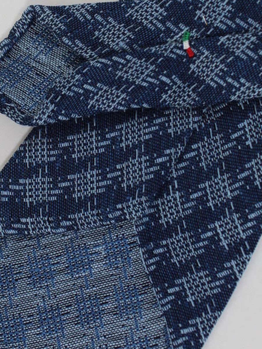 Stefano Cau Tie Blue Design Unlined Necktie