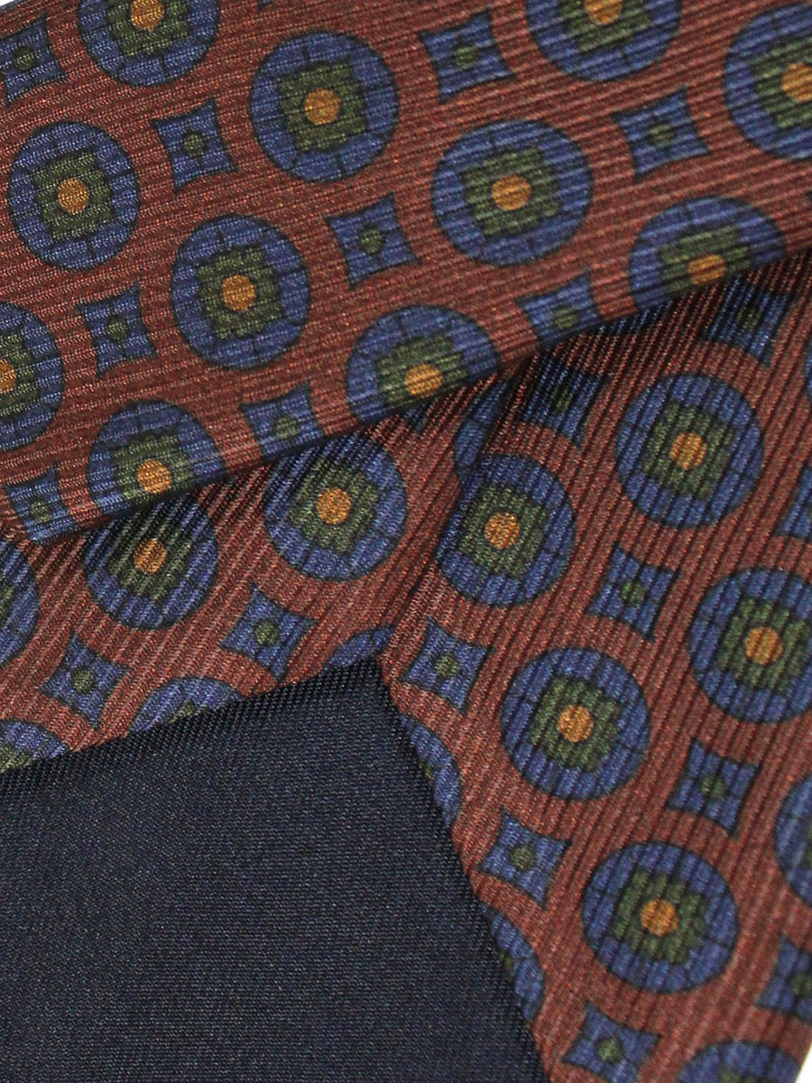 Stefano Cau Tie Brown Green Navy Medallions