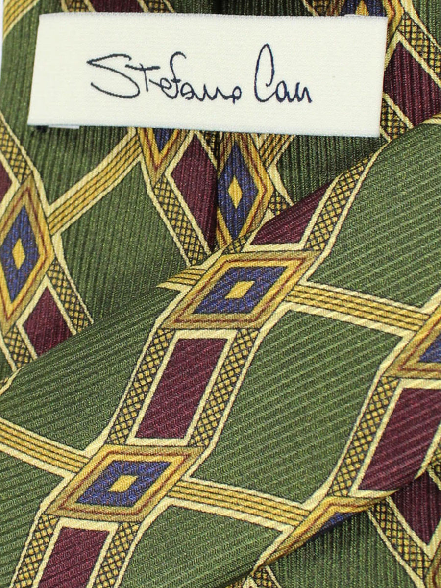 Stefano Cau Tie Green Brown Geometric