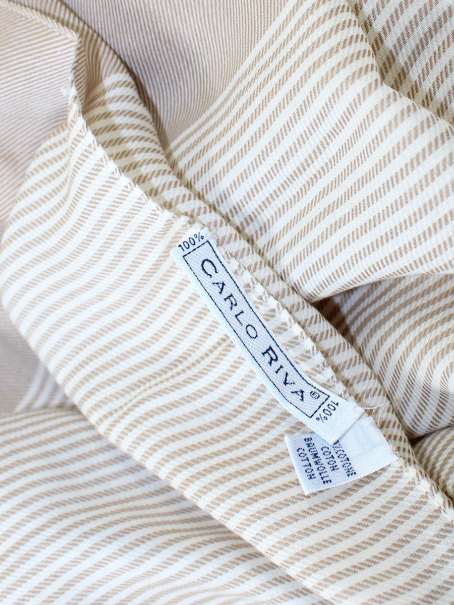 Carlo Riva Cotton Scarf Cream White Stripes FINAL SALE