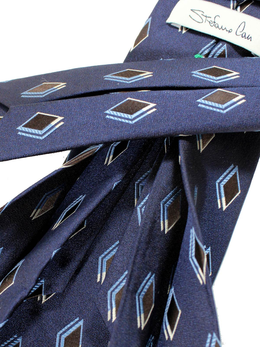 Stefano Cau 11 Fold Tie Navy Diamonds Silk Elevenfold Tie
