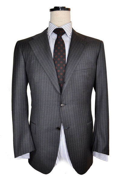 Kiton Suit Gray Stripes