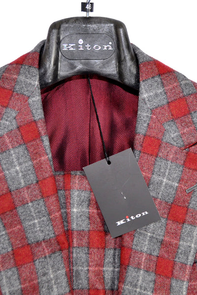 Kiton Suit Burgundy Gray Plaid Cipa 1960 EUR 46/ US 36 SALE