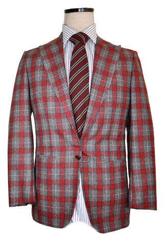 Kiton Suit Burgundy Gray Plaid Cipa 1960 EUR 36/ US 46 SALE