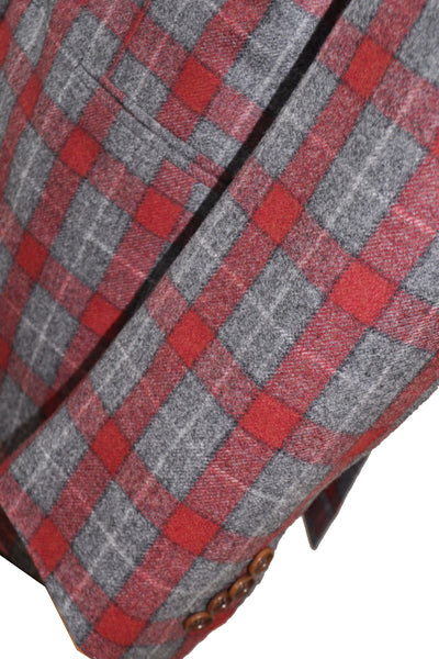 Kiton Suit Burgundy Gray Plaid Cipa 1960