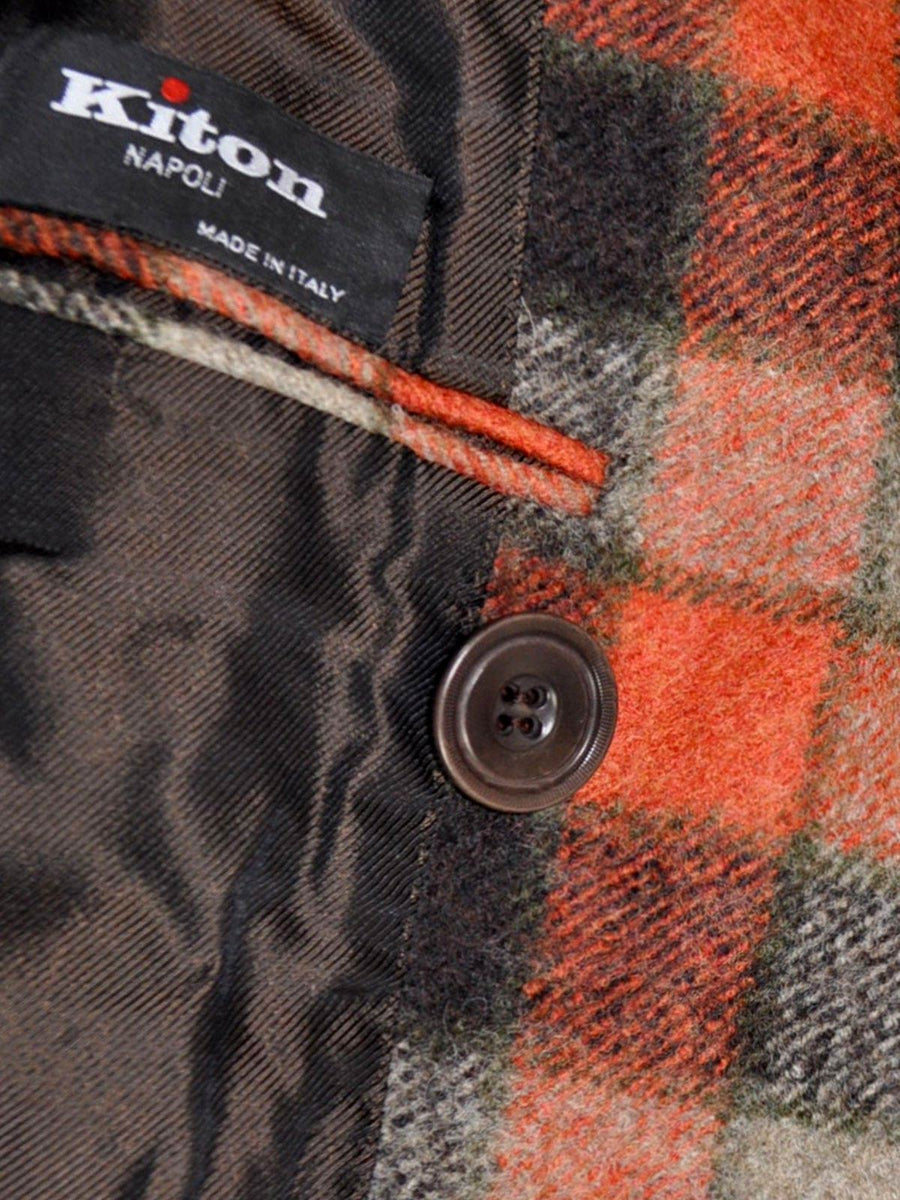 Kiton Wool Coat Rust Orange Gray Check Cipa 1960 Jacket