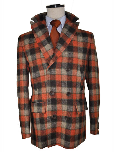 Kiton Wool Coat Rust Orange Gray Check