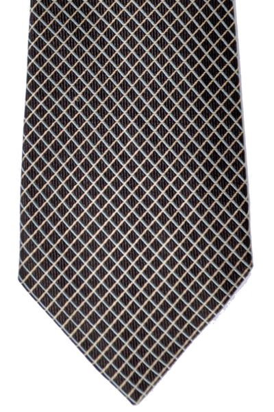 Corneliani Tie Chocolate Sky Blue Silver Grid