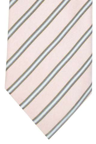 Corneliani Tie Pink Taupe Lavender Stripes FINAL SALE