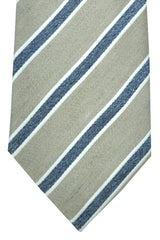 Corneliani Tie Gray Taupe Navy Stripes