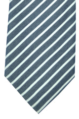 Corneliani Tie Navy White Stripes
