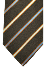 Corneliani Tie Brown Blue Copper Stripes