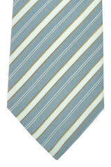 Corneliani Tie Blue Silver Taupe Stripes
