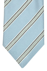 Corneliani Tie Sky Blue Gray Black Stripes