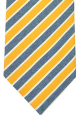 Corneliani Tie Yellow Navy White Stripes