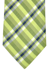 Corneliani Tie Lime Navy White Plaid