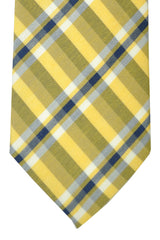 Corneliani Tie Yellow Navy White Plaid