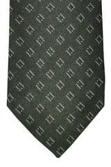 Corneliani Tie Dark Green Brown Cream Geometric