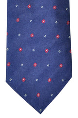 Corneliani Tie Navy Red Silver Floral