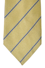 Corneliani Tie Olive Yellow Navy Blue Stripes