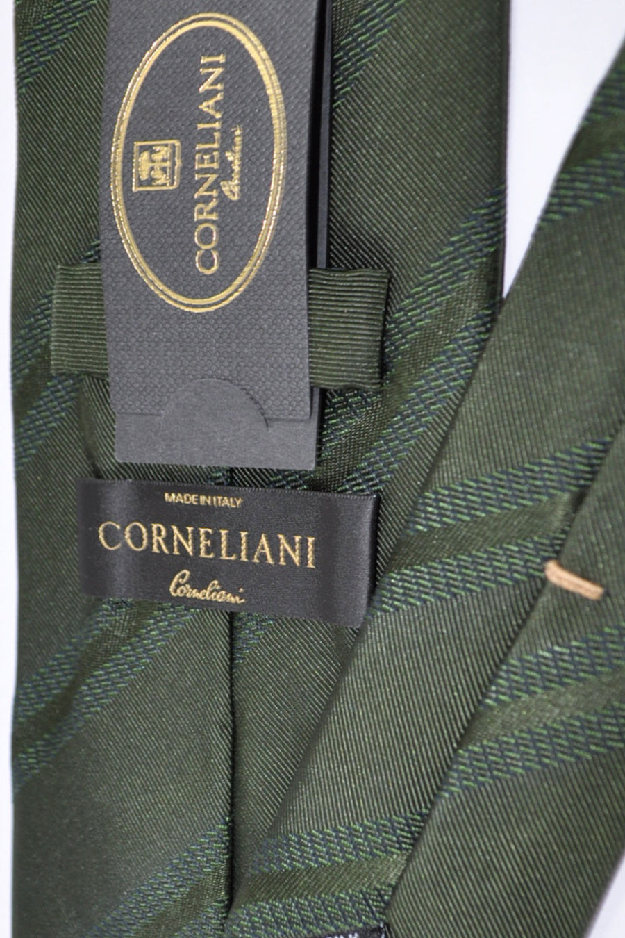 Corneliani Tie Dark Green Grosgrain