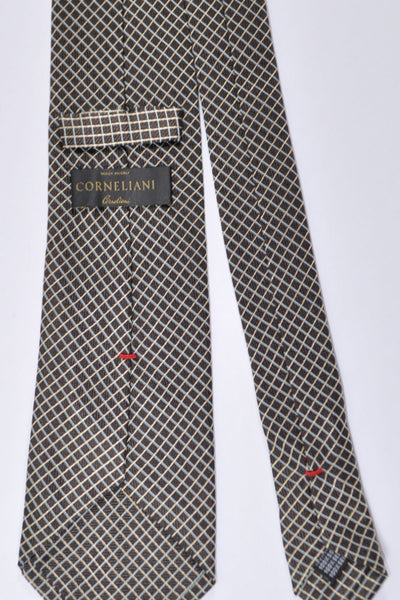 Corneliani Tie Chocolate Sky Blue Silver Geometric