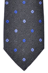 Corneliani Silk Necktie Charcoal Gray Royal Blue Lavender Floral