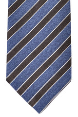 Corneliani Silk Necktie Midnight Blue Brown Stripes