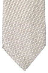 Corneliani Silk Necktie Cream Silver Geometric