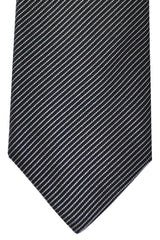 Corneliani Silk Necktie Black Silver Stripes