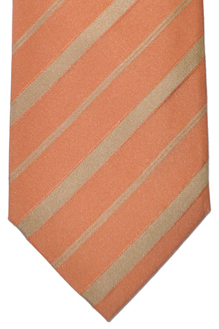 Corneliani Silk Necktie Peach Gold Stripes SALE