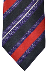 Corneliani Silk Necktie Purple Red White Stripes