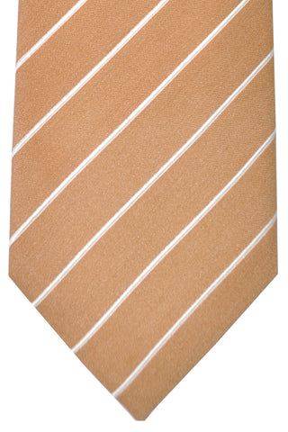 Corneliani Silk Necktie Taupe Silver Stripes SALE