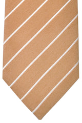 Corneliani Silk Necktie Tan Silver Stripes